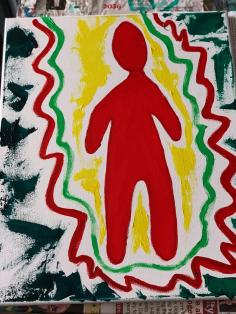 """cosmic observer."" 16x20, acrylic on canvas. Original Art by Jamie Barrientos."