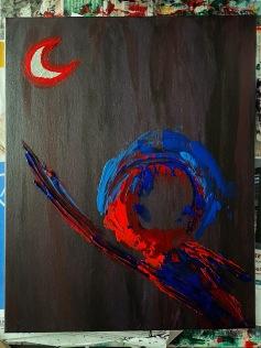 """per aspera ad astra."" 16x20, acrylic on canvas. Original art by Jamie Barrientos."