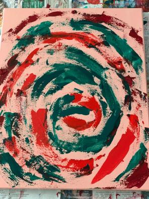 """new skin, new life."" 16x20, acrylic on canvas. Original art by Jamie Barrientos."