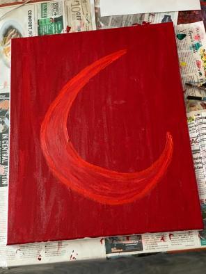 """roja, brava."" 16x20, acrylic on canvas. Original art by Jamie Barrientos."
