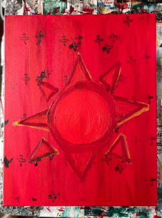 """""""dios me dijo."""" 16x20, acrylic on canvas. Original art by Jamie Barrientos."""